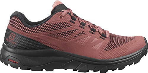 Salomon Damen Outline GTX, Wasserdichte Wanderschuhe, Rot (Apple Butter/Black/Brick Dust), 42 2/3 EU