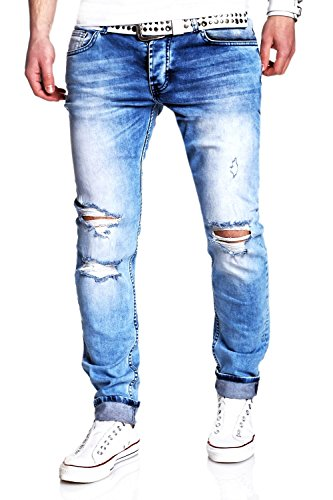 MT Styles Jeans Slim Fit RJ-2007 [Hellblau, W30/L32]