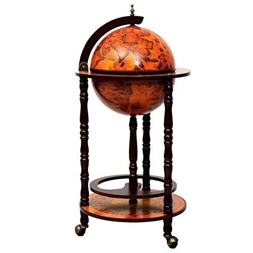 DREAMADE Globus Bar Hausbar, Barwagen Minibar mit antikem Design, Servierwagen Weinregal auf Rollen, Tischbar Cocktailbar Barschrank Globus