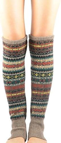 Zando Women Girls Bohemian Long Leg Warmer Winter Fashion Knitted Warm Boot Thigh High Socks product image