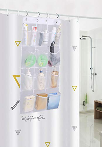 MISSLO Mesh Shower Organizer Hanging 15 Pockets Over the Door Bathroom Storage, Extra Large Capacity for Toiletry Accessories, White