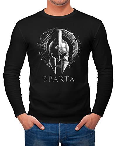 Neverless® Herren Long-Sleeve Aufdruck Sparta Helm Krieger WarriorLangarm-Shirt Schwarz schwarz L