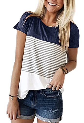 YunJey short sleeve round neck triple color block stripe T-shirt casual blouse,Navy,X-Large