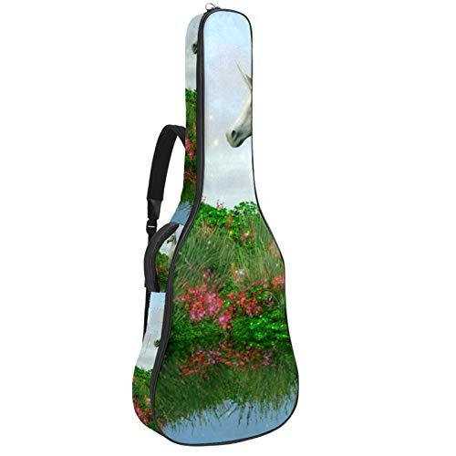 Funda para guitarra reforzada con esponja gruesa y acolchado extra de protección, para el cuello, para colgar en la parte trasera, guitarra acústica clásica, unicornio de cristal de fantasía