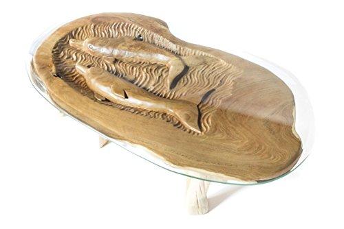 WINDALF dolfijn salontafel RADLEY l: 104 cm met glasplaat handgemaakt uniek stuk van wortelhout