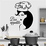 wZUN Bon Appetite Cita Pegatina de Pared Vinilo decoración del hogar Cocina café Hermosa Mujer calcomanía extraíble 63X81cm