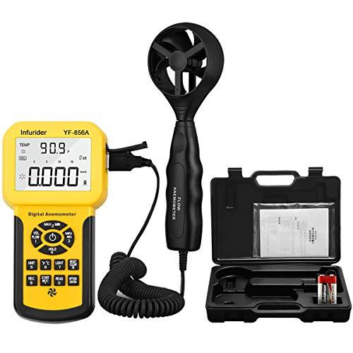 Anemómetro Digital Portatil INFURIDER YF-856A Conectar a la PC con usb, Pantalla LCD Medidor de Velocidad Viento Aire con Luz de Fondo para Vela, Cometa, Surf, Marina, etc