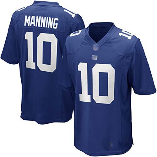 ZHMIAO Männer Rugby Trikot Manning 10# Giants, American Football Trikot Training T-Shirts Fan Shirt Kurzarm Unisex Blue- XXXL(195~200)