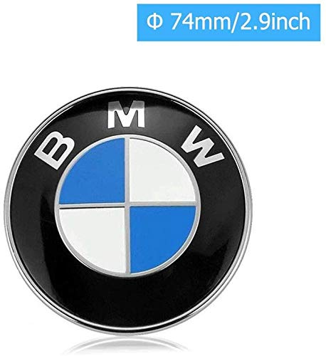 74mm B-M-W Emblem, 2 Pin Replacement Badge Hood or Trunk Logo Fit for B-M-W 3-Series, 5-Series, 6-Series, 7-Series, X1, X3, X5(74mm)