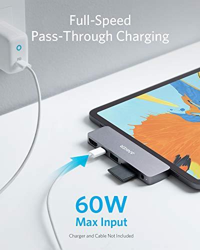 Anker PowerExpand Direct 6-in-1 USB-C Hub für iPad Pro, mit 60W Power Delivery, 4K@60Hz HDMI Eingang, 3.5mm Audio-Eingang, USB 3.0 Port, SD & microSD Speicherkartenplatz