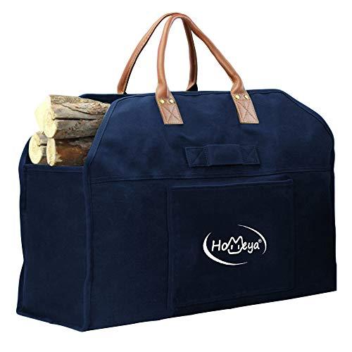 HOMEYA - Portador de leña de lona encerada, bolsa de leña con mango de cuero, resistente soporte de leña, accesorios para estufa, bolsa de almacenamiento para hoguera al aire...