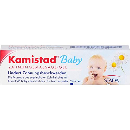 Kamistad Baby Zahnungsmassage-Gel - lindert Zahnungsbeschwerden von Babys beim Durchtritt der ersten Zähnchen - beruhigt gereiztes Zahnfleisch - 10 ml, 100 g