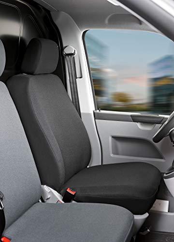 Walser 10463 Autoschonbezüge Transporter Passform, Polyester Sitzbezug anthrazit kompatibel mit VW T5, Einzelsitz vorne