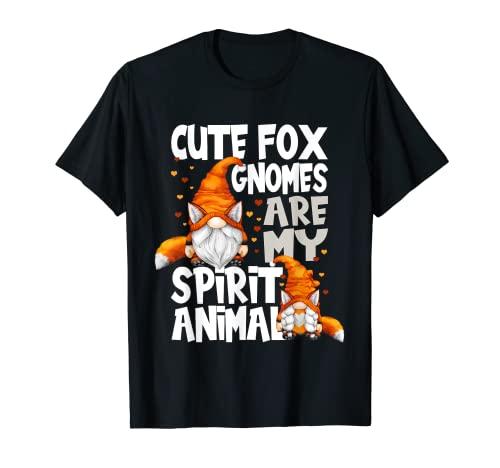 Lindo Fox Spirit Animal Cita Para Los Amantes Del Gnomo Red Fox Gnomos Camiseta