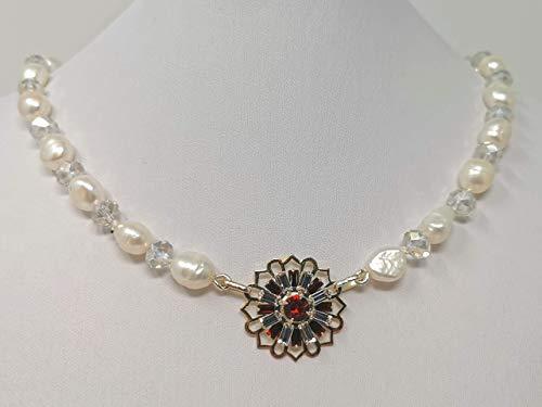 Collana principessa, Donna, con grandi perle coltivate barocche e medaglione in cristalli rosso brillante