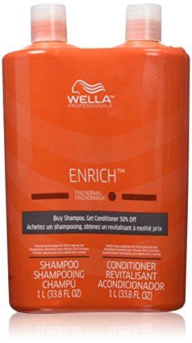 Wella Enrich Shampoo & Conditioner Fine to Normal Hair, Liter Duo 33.8 Oz