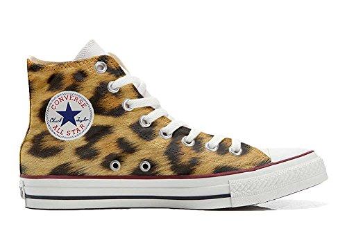 Unbekannt Sneaker & Sportschuhe USA - Base Print Vintage 1200dpi - Italian Style - Hi Customized personalisierte Schuhe (Handwerk Schuhe) Leopard TG39