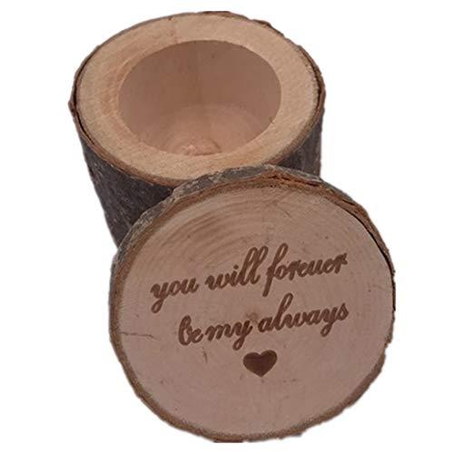 Swiftswan Vintage Ring Box aus Holz Hochzeit Verlobungsring Box rustikale Finger Ring Halter