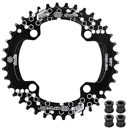 EASTERN POWER Plato 30 Dientes BCD 104, Plato BCD 104 Bicicleta Montaña, Aluminio Monoplato 30 Dientes MTB, Negro(Incluye 4 Tornillos Plato)