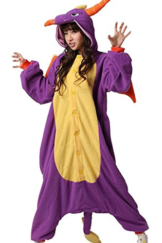 wotogold Animal Dragon Pyjamas Costumes de Cosplay Adulte Unisexe Purple