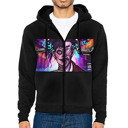 LWJKI Casual Love Death Robots Wallpaper Sweatshirts with Zipper for Man's Black Xx-Large