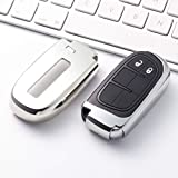 FQD&BNM Cubierta de la Llave del Coche Soft TPU Car Key Cover Case Llavero Protector de Llavero para Jeep Grand Cherokee Chrysler 300C Renegade Fiat Freemont 2018, Plata