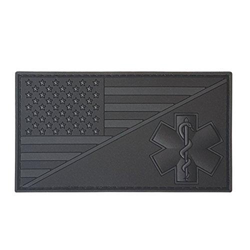 2AFTER1 Alle zwarte blackout Amerikaanse Amerikaanse vlag EMS EMT ster van het leven paramedische Medische Tactische PVC Rubber Hook-and-Loop