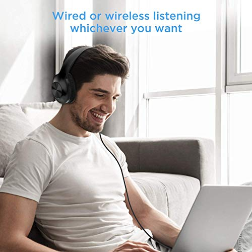 LETSCOM Bluetooth Headphones Over Ear, 100 Hours Playtime Wireless Headphones with Hi-Fi Deep Bass and Microphone, Soft Earpads Foldable Headset for Home Office Calling Work TV PC Cellphone Tablet