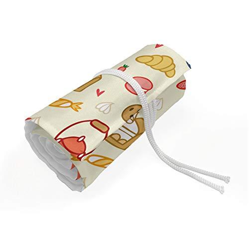 ABAKUHAUS Tee-Party Mäppchen Rollenhalter, Teekanne Kuchen Treat Süßigkeiten, langlebig und tragbar Segeltuch Stiftablage Organizer, 72 Schlaufen, Eischale Dunkelt Coral
