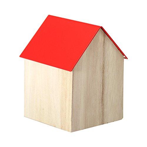 Block , 9 cm, aus Holz, Haus mit Edelstahl-Deckel, rot