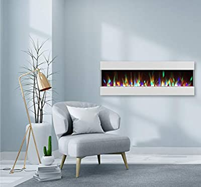 CAMBRIDGE 60 Crystal and LED Color Changing Display, White, CAM60RECWMEF-1WHT Recessed Wall Mounted Electric Fireplace