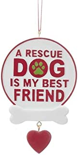 KA Kurt Adler Dog Rescue Personalizable Christmas Holiday Ornaments ~ Three Phrases to Choose from (A Rescue Dog is My Best Friend)