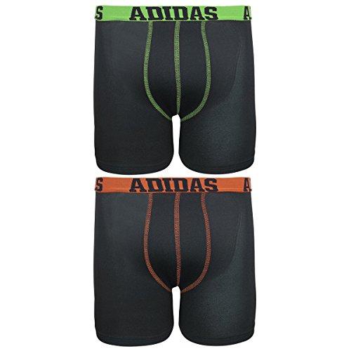 adidas Boy's Climalite Boxer Brief Underwear (2-Pack), Assorted: Black/Solar Green/Black/Semi Solar Red, Large/14-16