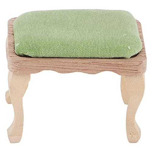 Taburete de casa de muñecas 1:12, silla de muebles en miniatura, taburete de casa de muñecas de simulación con cojín, accesorios para juegos de simulación