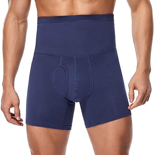 Derssity Bóxers Hombre Algodón Calzoncillos Cintura Alta Pantalones Cortos de Compresión Gluteos para Fitness Running Boxeo(Azul Oscuro,XL)