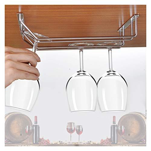 Tenedor de copa de vino, suspensión al revés de acero inoxidable, percha de copa de vino, soporte de copa de vino boca abajo, fila doble 28 cm de largo 4-6 tazas