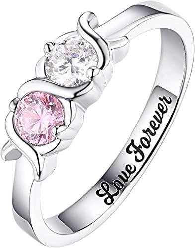 Lakabara 925 anillo de plata esterlina para mujer con 2-5 piedras natales simuladas personalización de anillo de plata esterlina
