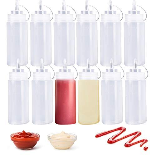 Quetschflaschen für Gewürze, 238 ml, Kunststoff, mit Schraubdeckel, für Ketchup, Grill, Saucen, Sirup, Gewürze, Dressings, Malerei, 12 Stück