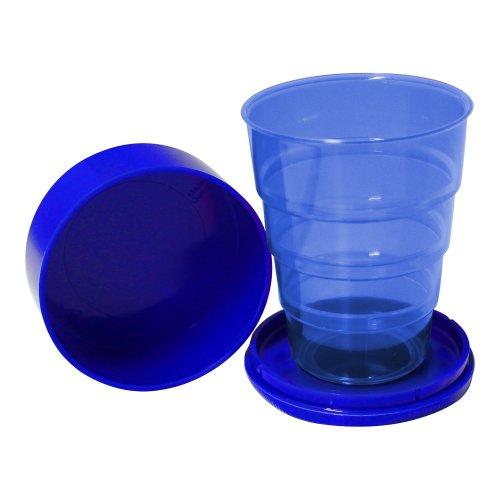 Klappbecher 200 ml leuchtblau aus Kunststoff DDR-Plastebecher Trinkbecher zusammenklappbar für unterwegs