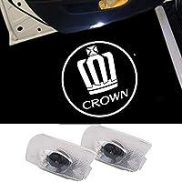 DISYEE 石英ガラスレンズ 2個セット カーテシランプ ドアウェルカムライト カーテシライト カーテシ 車用ドアランプ LEDロゴ投影 (CROWN02)