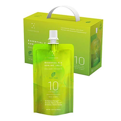 EVERYDAZE Essential C's Collagen + Vitamin C Konjac Jelly | Vegan, 10 Calories, 0 Sugar | Green Grape | 10 Packs | Healthy Diet Pouch Drinkable Snack Drink, Weight Management