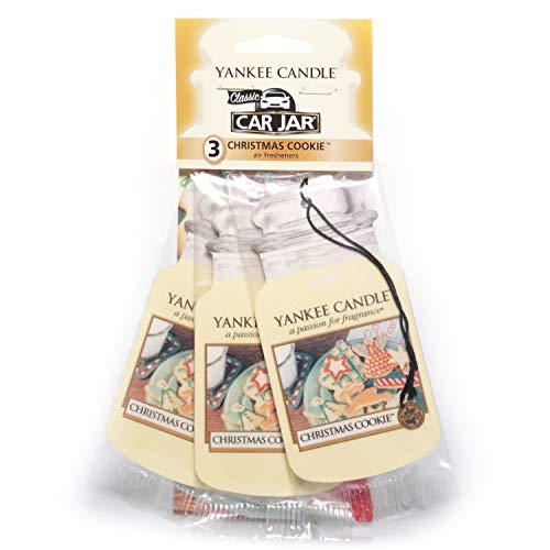 Yankee Candle 1166123E Ambientador de Aire del Coche, Car Jar Bonus 3 Pack, Christmas Cookie