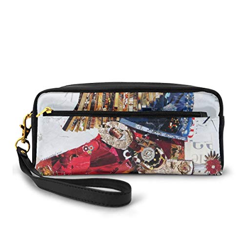Portable PU Leather Pencil Case - Artistic Texas Cowgirl Boot Cosmetic Makeup Pouch - Fashion School Pencil Holders with Zipper