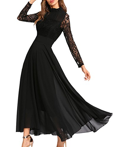 Aofur Women's Long Sleeve Chiffon Maxi Dresses Casual Floral Lace Evening Cocktail Party Long Dress (Small, Black)