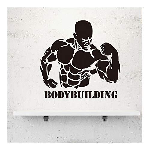 WANGYIYI Decalcomanie da Muro di Arte Muscolare Uomo/Bodybuilding Wall Sticker per Esercizio di Fitness Palestra Poster Decorazione Decorazioni per la casa Adesivi Wallpaper