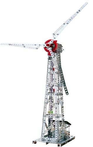 Tronico 10131 - Metallbaukasten Windkraftanlage mit Solarzellenantrieb, Profi Serie, 626-teilig, metallic