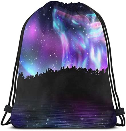 MSGUIDE Drawstring Sports Backpack Galaxy Wolf Lightweight Gym Yoga Sackpack Sting Bag Casual product image