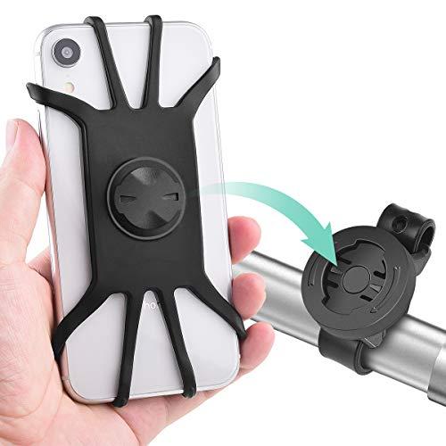 """Diyife Porta Cellulare Bici, [4""""- 6,5""""] Supporto Bici Smartphone Ruotabile a 360°Regolabile, Cinturino Silicone Estensibile e Staccabile, Universale Porta Bici per Smartphone"""