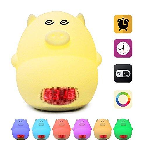 Funwill Luz nocturna reloj despertador para niños lindo cerdo dormitorio niños reloj usb luces led silicona bebé bebé cuarto de bebé lámpara cambio de color mejor regalo
