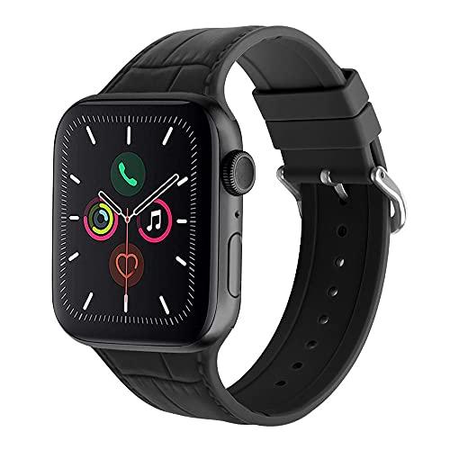 Miimall Compatible con Apple Watch 44 mm 42 mm, correa de repuesto de silicona suave deportiva con cierre de acero inoxidable para Apple Watch Series 6/5/4/3/2/1/SE (gris)